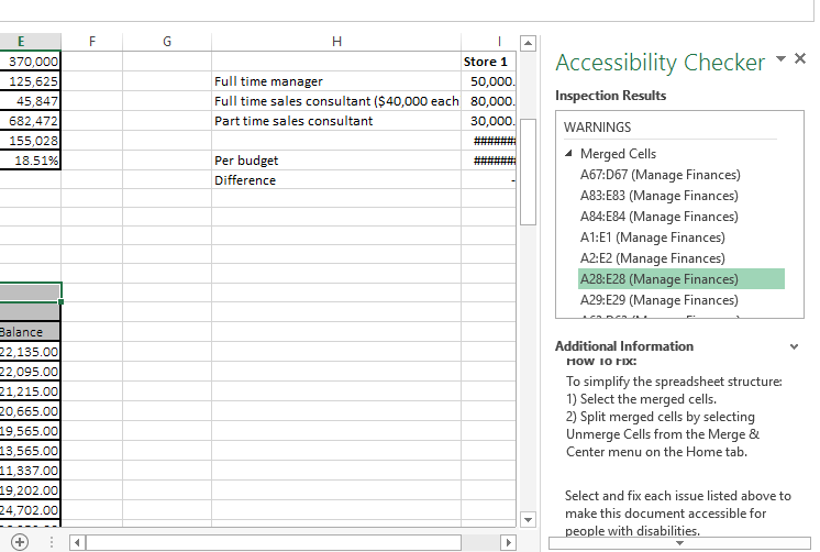 Excelling with Microsoft Excel: Self-learning series 2 (Accessibility options)