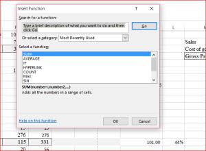 Insert function popup