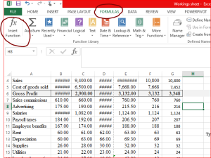 insert function in excel