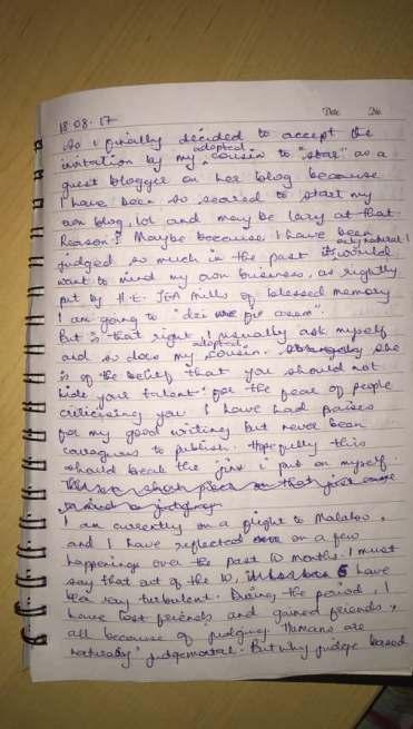 Her hand written notes